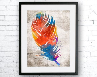 Colorful Feathers, Art print, Feathers poster, Feathers watercolor, Wall art, Abstract poster