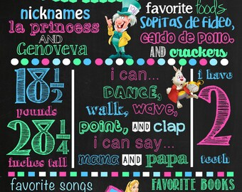 Alice in Wonderland Birthday Chalkboard Poster DIGITAL FILE