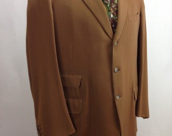 1950's GABARDINE 2 Piece SUIT / Light Chocolate Wool Gabardine / Mint Condition / Men's Size MEDIUM