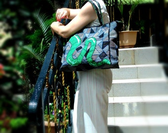 MADE TO ORDER: Green Snake Tote Bag trapezoidal form embroidered by hand, Unique shoulder bag