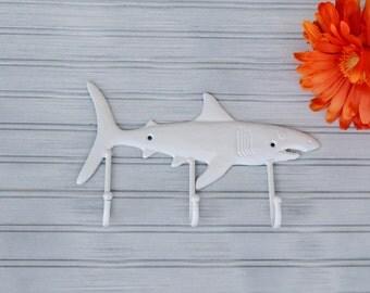 White Shark Wall Hook. Shark Decor. Shark Art. Beach Decor. Nautical Decor. Coastal Decor. Fish Decor. Towel Hook. Coat Hook. Nursery Decor