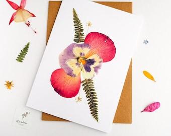 Printed floral card, flower greeting card