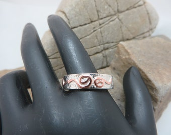 Ring sterling silver textured patterned copper
