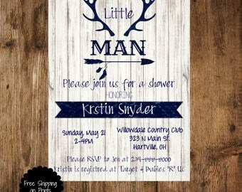 rustic baby boy shower invitation baby boy shower invitation navy deer baby shower invitation