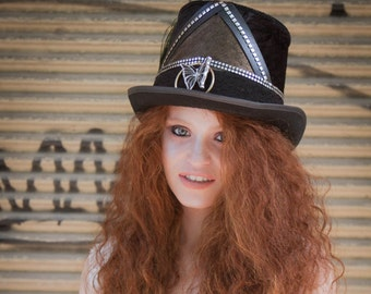 Magician Top Hat, Victorian Top hat, edwardian hat, Gypsy hat, Tribal Fusion Topper hat, Festival hat, Party cylinder handmade Top Hat