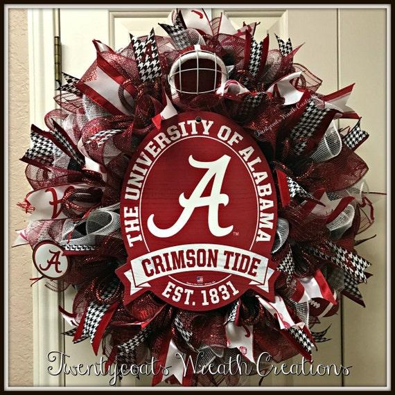 Sports Team Wreath, Football Wreath, Crimson and White Wreath, Wreath w/ Alabama Licensed Sign, hounds tooth ribbon