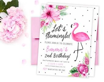 Flamingo birthday invitation, Flamingo Invitation, Let's Flamingle Invitation, Girl First 1st Birthday Invitation Printable, Flamingo party