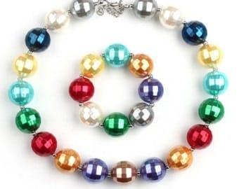 50% off sale-rainbow bubblegum necklace and bracelet set