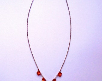 Orange glass necklace / delicate / faceted glass / glass / sparkly / gift / bead / vintage / 60s / silver chain necklace / drop bead pendant