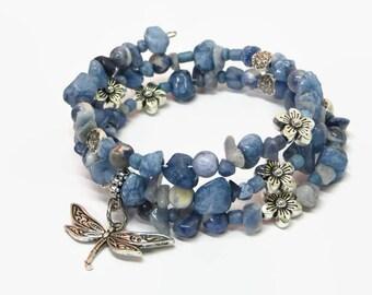Blue Dragonfly Memory Wire Bracelet, Dragonfly Charm Wrap Bracelet, Blue Boho Wrap Bracelet, Dragonfly Beaded Wrap Bracelet