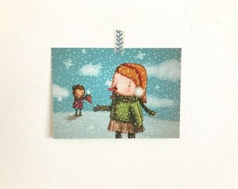 Set of 10 Christmas Cards - Snowflakes