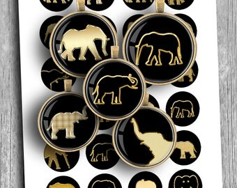 Golden Elephants 20 mm 1 inch 1.25 inch 1.5 inch Printable Round images Digital Collage Sheet Printable Download