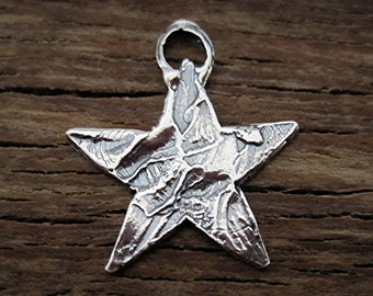 Rustic Textured Artisan Star Charm and Pendant in Sterling Silver (one) (A)