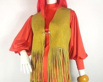 SALE // Vintage 1960s / 70s mustard suede Waistcoat fringing / Festival / Psych Rock / Hippie / Jimi Hendrix