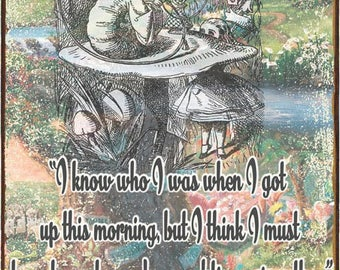 Alice in Wonderland Caterpillar Quote Metal Sign   HB7278
