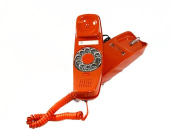 Retro Trimline Vintage Phone - Mid Century Rotary Telephone - Burnt Orange Rotary Dial Phone - Western Electric Bell System