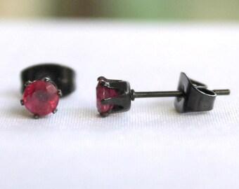 Treated Ruby Black Solitaire Stainless Steel Earrings Stud