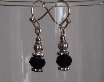 Small pendant earrings with black faceted glass beads