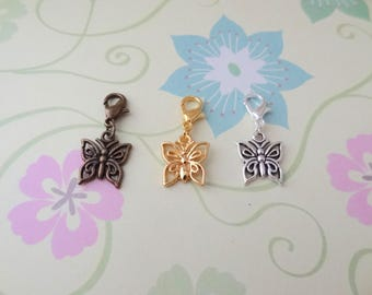 Butterfly Clip On Bracelet Charm/Purse Charm/Zipper Pull Charm/Planner Charm in Bronze, Silver or Gold - Ready to Ship