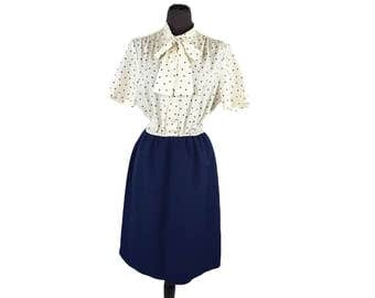 Vintage 1960s Mod Secretary Dress / Blue and White / Ginkgo Print / Mad Men Dress / Tie Neck Dress