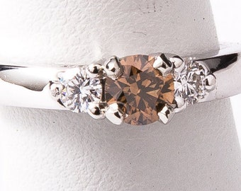 CHOCOLATE DIAMOND ENGAGEMENT Ring - 14k White Gold
