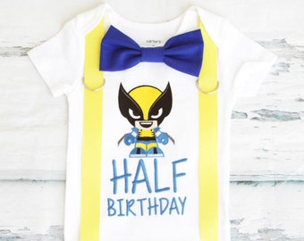 Boy half birthday Wolverine themed boy cake smash outfit boy embroidered wolverine x-men 6 months half birthday onesie bow tie suspender set