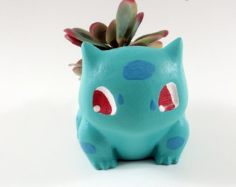 Bulbasaur Planter, Pokemon Planter, Succulent Planter, Painted, Weather Sealed, Indoor or Outdoor, Free US Shipping
