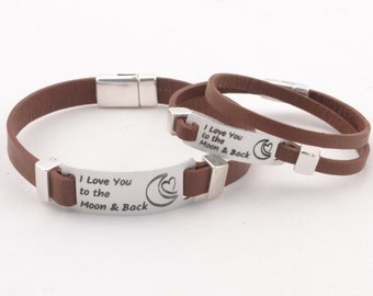 I Love You To The Moon And Back couples bracelet, aluminum jewelry, personalized couples jewelry, engraved quote leather bracelet valentines