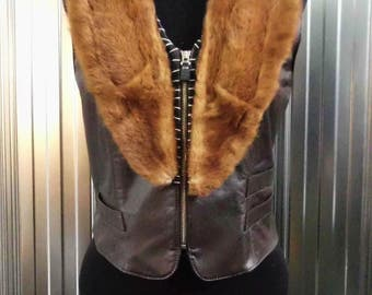 Brown Leather jacket with Recycled Fur Collar