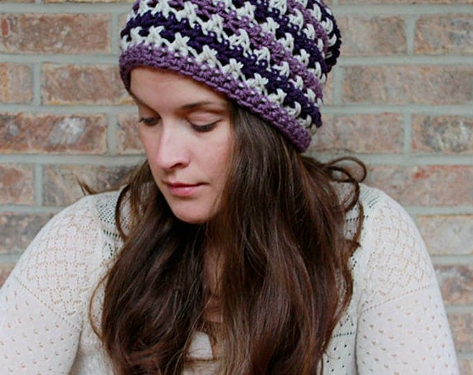PDF Crochet Pattern ~ The Sugared Plum Slouch Beanie