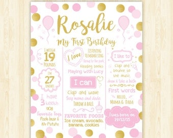 first birthday poster girl 1st birthday sign 1st birthday girl poster pink and gold girl poster chalkboard poster personalized printable