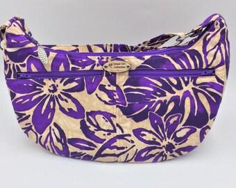 Hobo Bag, Handbag, Sling Bag, Slouchy Bag, Tropical Bag, Large Purse in Purple Petals Floral Print - Made in Maui
