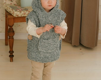KNITTING PATTERN chunky hooded poncho Phoebe (toddler, child, adult sizes)