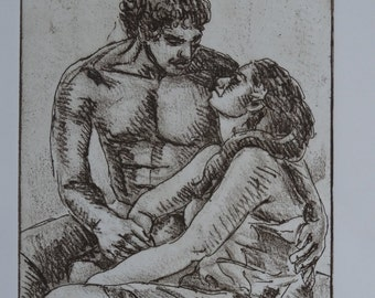 """Douglas Pooloa Tolentino Dry Point Etching of a Hawaiian Couple Title: The Lovers, Signed Artist Proof 8.5"""" x 6"""""""