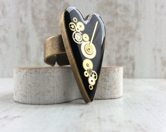 Steampunk Heart Ring. Black Heart. Bronze Ring. Adjustable Steampunk Ring. Cogs and Gears. Large Statement Ring. Recycled Watch Workings