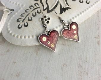 Dark Red Earrings. Red Heart Earrings. Silver Heart Earrings. Steampunk Heart Earrings. Red Heart Jewellery. Sterling Silver Earrings
