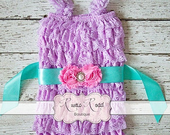 Lace Romper & Sash, Lavender Ruffle Romper, Baby Girl 1st Birthday Outfit, Cake Smash Outfit, Girls Romper, Baby Romper, sizes 3Mos-8Yrs