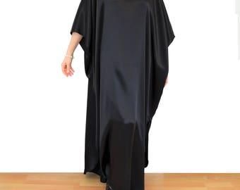 Women's Black Kaftan, Pure Silk Kaftan, Resort Wear, Beach Cover Up, Plus Size Caftan Robe, Long Kimono Kaftan, Black Silk Maxi Dress