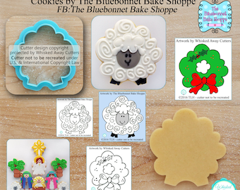Sheep and Wreath Cookie Cutter & Fondant Cutter Designed by The Bluebonnet Bake Shoppe - *Sketches to Print Below*