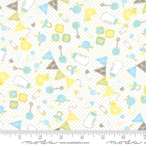 Blue yellow baby quilt flannel fabric moda sweet baby for Yellow baby fabric