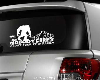 Bigfoot chasing stick family, Bigfoot car decal, stick family car decal, Sasquatch laptop decal, gone squatchin, Bigfoot sticker, Bigfoot