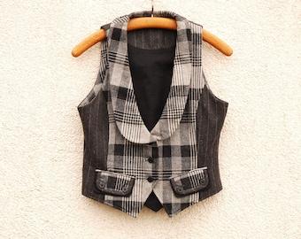Gray Plaid Women Vest Formal Fitted  Romantic Victorian Medium Size Wool Waistcoat
