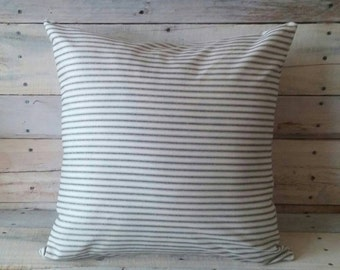 Ticking Stripe Pillow, Farmhouse Gray French Decor, Rustic Home Decor, Pillow Cover, Accent Pillow, Decorative Pillow, Housewarming Gift