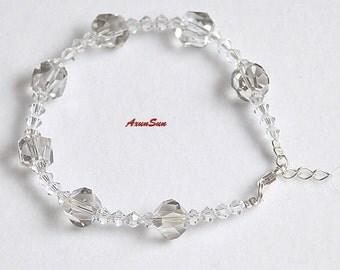 Charming, Handmade Silver Swarovski Crystal Bracelet.