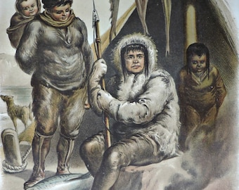 Eskimos  engraving.  Antique illustration 137 years old. 1880 lithograph. 8'46 x 12'05 inches.