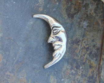 Mexican Sterling Silver Small Man on the Moon Pin / Brooch