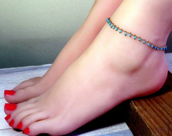 Gold Turquoise Beads Anklet - Gold Anklet - Turquoise Gold Anklet - Ankle Bracelets , Foot Jewelry , Gold Ankle Bracelet , Anklet Jewelry