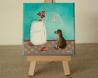 mini painting with easel, dog in kitchen, hand painted original art, 3x3, Joe Smigielski miniature, ooak,