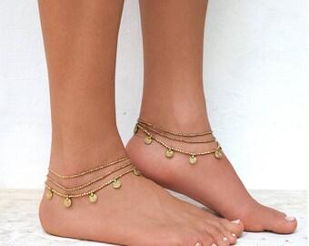 Beaded Gold Anklet,Gold Ankel Bracelet,Beaded Anklet, Boho Anklet,Ankle Bracelet, Anklet, Hippie Jewelry, Festival Fashion