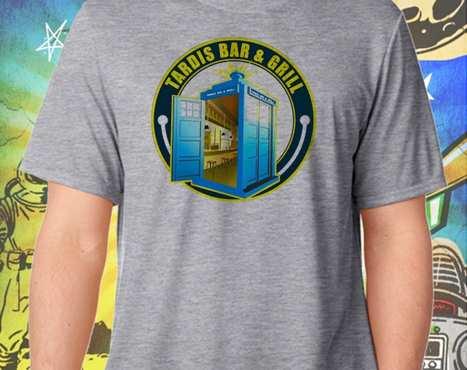 Doctor Who / Tardis Bar & Grill / Men's Gray Performance T-Shirt
